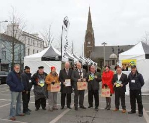 Celebrating Lurgan Market's Real Deal status are: (left to right) – Traders Alan Clarke, Waleti Singh and Felix Higgins with Kirsty Pinkerton Market Co-Ordinator CBC, Alderman Hatch Chairman Environmental Services CBC, Mayor of Craigavon Borough Council Cllr Baxter, Executive Board Member NMTF Paddy Lynn, Lorraine Crawford Director of Environmental Services CBC, Cllr O'Connor Vice Chairman Environmental Services CBC and Trader Peter McStravick.