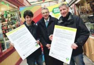 Pictured are (left to right) Joe Barratt from Stockport's Teenage Market, Ian O'Donnell from Stockport Council and Paul Downs Stockport Market Manager.