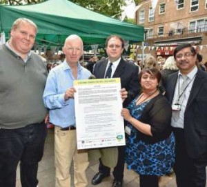 Pictured signing the Real Deal Charter are (left to right) chairman of the Portobello & Golborne Management Committee, Mark Barr; Leader of the Royal Borough of Kensington and Chelsea Cllr Nick Paget-Brown; Markets Manager, Nick Kasic; Trading Standards, Sanju Manji and Ash Shah.