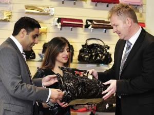 Pictured at Bradford Bazaar are (from left) Hassan Ali, trader Samina Khan and trading standards officer Dave Lodge