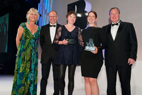 Pictured receiving the Award from Lavinia Carey BVA Director General (far left) and Charlie McAuley BVA Chairman (far right) are Liz Bales Director General of the Industry Trust for IP Awareness and Susie Winter Director General of the Alliance Against IP Theft. Comedian Simon Evans (second left) hosted the Awards event.