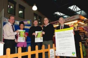 L-R Phil Edge (Markets Manager) Ebony Clarkson (Clunans food stall) Mike O'Connor (Chairman of Traders Association) Geoff Henson (Trader) Alan Blundell (Head of Regulatory Services, Wigan Council)