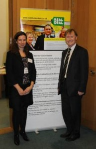 David Amess is pictured with Susie Winter from the Alliance Against IP Theft at the recent Real Deal briefing event at Portcullis House, Westminster.