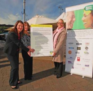 Pictured signing the Real Deal charter at Ashton-under-Lyne outdoor market are (left to right) Sharon Smith, Head of Environmental Services Tameside Council, Nicola Martin, Market Business Development Manager and Councillor Catherine Piddington.