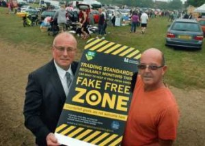 Trading standards operations manager Keith Regan with Bottesford car boot market owner Mick Emmerson PHOTO: Tim Williams