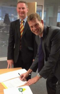 Pictured signing the Real Deal charter are (left) Market Place chief executive, Nick Rhodes, and Simon Legg of Brent and Harrow Trading Standards service
